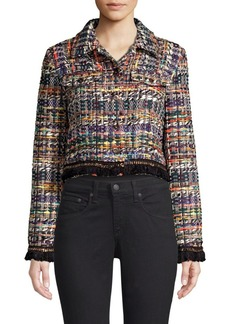 Milly Fringe & Chain Trim Tweed Jacket