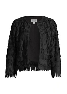 Milly Fringe Embroidery Collarless Jacket