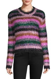 Milly Fuzzy Stripe Metallic Sweater