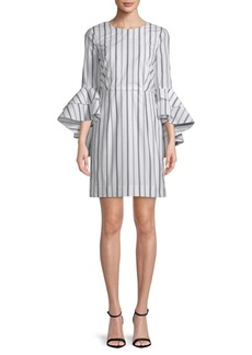 Milly Gabby Stripe Cotton Bell-Sleeve Dress
