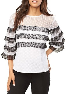 Milly Gabriella Two-Tone Ruffle Top