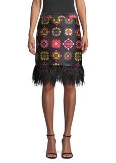 Milly Geometric Jacquard Fringe Pencil Skirt