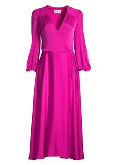Milly Gina Stretch Silk Midi Wrap Dress