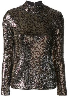 Milly glitter funnel-neck top