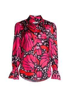 Milly Graphic Butterfly Satin Top
