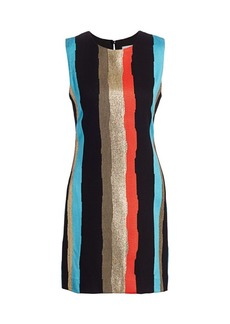 Milly Graphic Striped Tweed Shift Dress