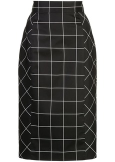 Milly grid print pencil skirt