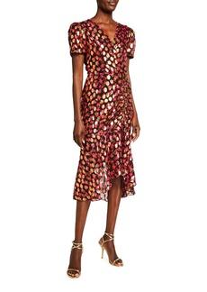 Gynn Metallic Floral Midi Clip Dress