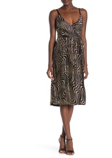Milly Haley Metallic Swirl Wrap Midi Dress
