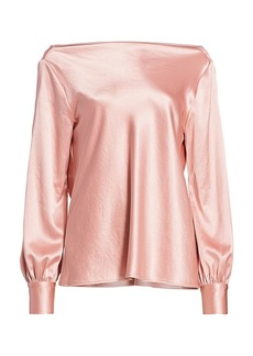 Milly Hammered Satin Rachele Cowl-Back Top