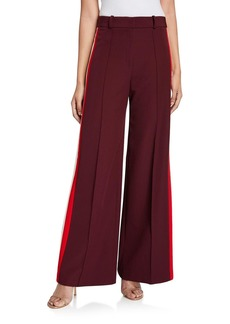 Milly Hayden Pintucked Sustainable Cady Pants w/ Side Stripes