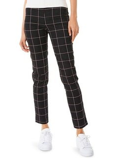 Milly High-Waist Check Skinny Ankle Pants