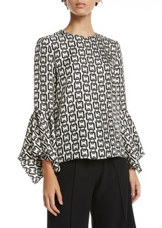 Milly Holly Bell-Sleeve Chain-Print Twill Top
