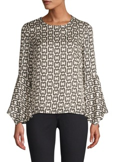 Milly Holly Chain-Print Bell-Sleeve Top