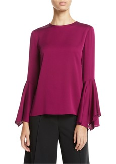 Milly Holly Jewel-Neck Flared-Sleeves Stretch-Silk Top