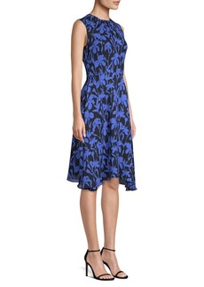 Milly Iris Floral Silk A-Line Dress
