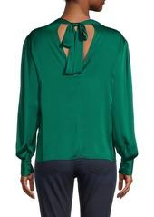 Milly Iris Stretch-Silk Puff-Sleeve Top