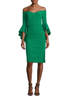 Milly Italian Cady Selena Off-the-Shoulder Flutter-Sleeve Cocktail Dress