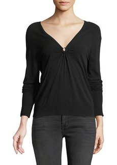 Milly Italian Ruched Keyhole Top