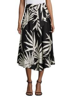 Milly Jackie Palm-Printed Midi Skirt