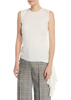 Milly Jana Stretch-Silk Hem-Tie Top