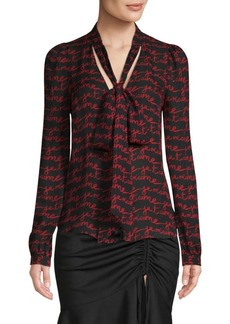 Milly Je T'aime Tie Neck Blouse