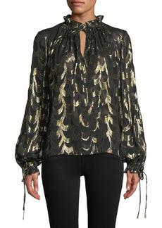 Milly Jenny Long-Sleeve Metallic Silk Chiffon Top