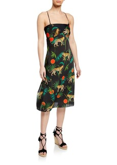 Milly Jungle-Print Cross-Back Sleeveless Twill Dress