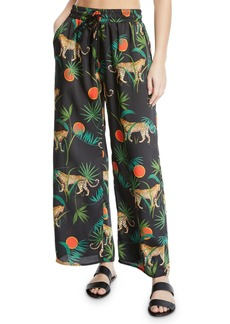 Milly Jungle Print Twill Coverup Pants