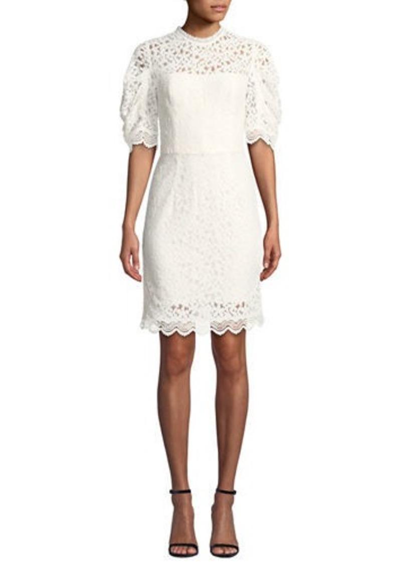 Milly Kara Short-Sleeve Floral Lace Sheath Dress