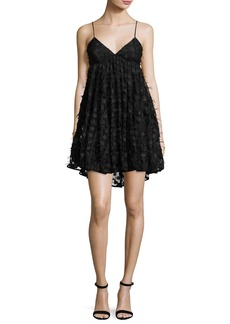 Milly Katie Spaghetti-Strap Embroidered Lace Dress  Black