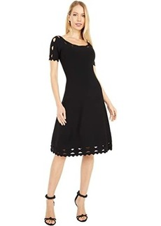 Milly Keyhole Twist Trim Flare Dress