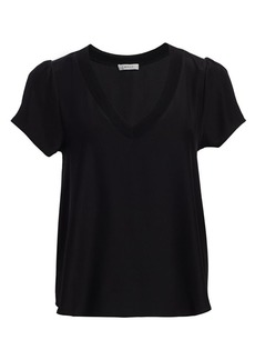 Milly Knit-Trim Silk Top