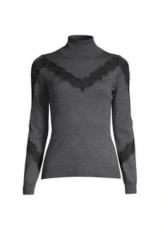 Milly Lace Insert Wool Turtleneck