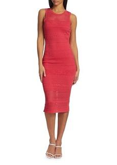 Milly Laser Cut Knit Midi Dress