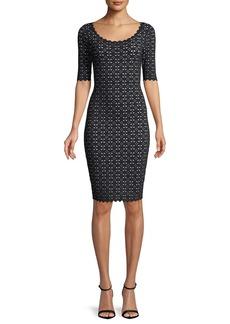 Milly Laser-Cut Pointelle Sheath Dress