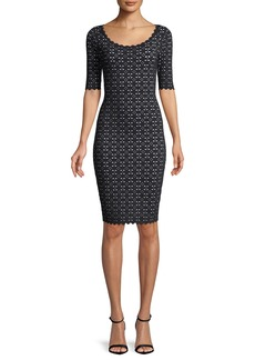 Milly Laser-Cut Pointelle Sheath Dress