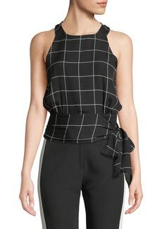 Milly Lauren Check Silk Sash-Tie Top