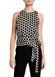 Milly Lauren Dot Print Sleeveless Twill Top