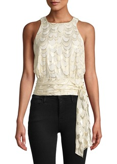 Milly Lauren Metallic Silk Chiffon Tie-Hem Top