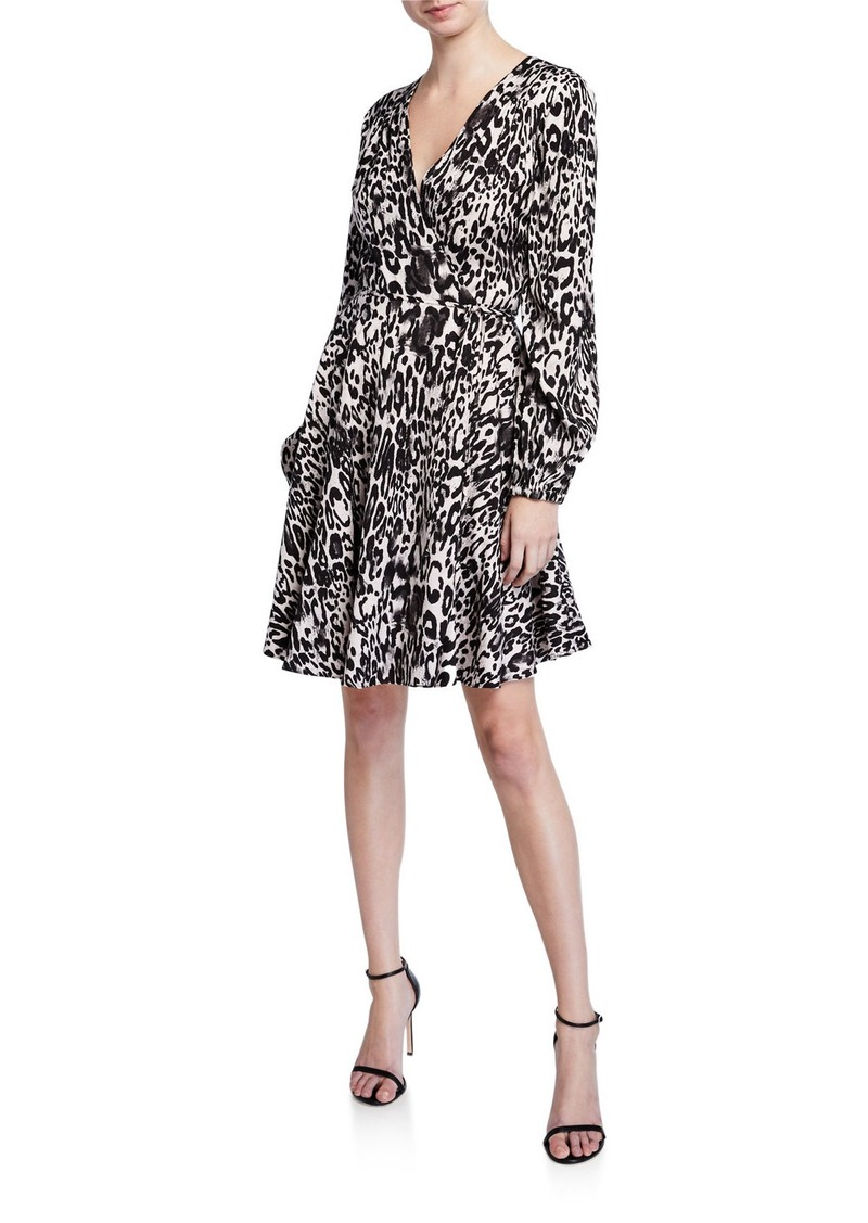 Milly Leopard Printed Jacquard Long-Sleeve Wrap Dress