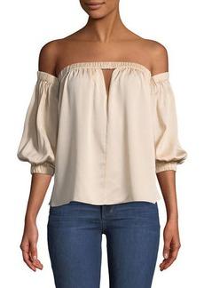 Milly Leslie Off-The-Shoulder Silk Blouse