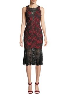 Milly Lillian Italian Stretch Lace Midi Dress