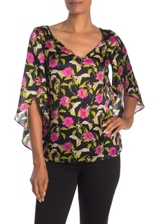 Milly Lily Print Flutter Sleeve Silk Blouse