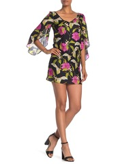 Milly Lily Print Flutter Sleeve Silk Mini Dress
