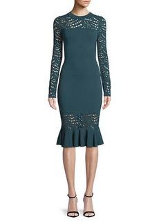 Milly Long-Sleeve Pointelle Lace Mermaid Midi Dress