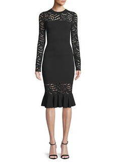 Milly Long-Sleeve Pointelle Lace Mermaid Midi Dress