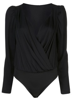 Milly long-sleeve wrap bodysuit