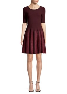 Milly Lurex Pleated Fit-&-Flare Dress