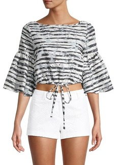 Milly Lydia Striped Cropped Top